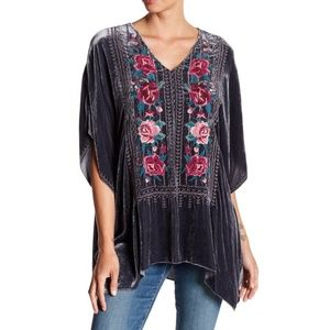 Johnny Was Velvet Embroidered Poncho Tunic size M
